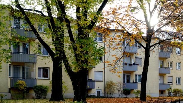 Darmstadt, Wohnhof Nieder-Ramstädter Straße. Durch einen leichten Versatz der Fassaden der Gebäudeteile und die abgerundeten Balkone entsteht der Eindruck einer geschwungenen Form, die durch die Führung der Wege noch verstärkt wird. Die Zugänge sind nach außen hin orientiert und schaffen eine ruhige Atmosphäre. Die Häuser sind in einfachster Bauweise ausgeführt und haben dennoch einen hohen Wohnwert.