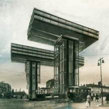 Die Kranhäuser erinnern an die von El Lissitzky 1924 entworfenen Wolkenbügel, die nie gebaut wurden (Bildquelle: Wikimedia Commons)