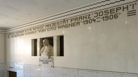 Postsparkassengebäude in Wien. Im Eingangsbereich gibt es natürlich einen Reminiszenz an den Kaiser und auch an den Architekten.