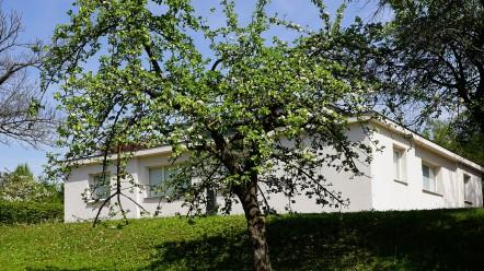 Der einfache Bau thront auf einer kleinen Anhöhe hinter Obstbäumen.