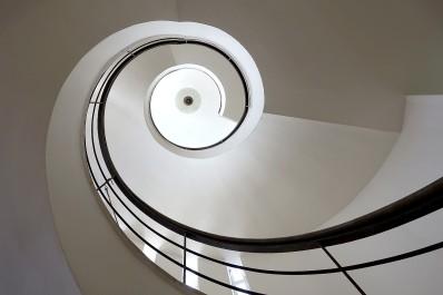 Die Spiraltreppe ist ein Highlight des Gebäudes.